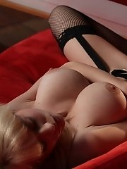 Emily Addison is a fair-skinned queen in black sexy lingerie